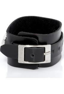Bracelete Galeria Do Rock Fivelas E Rebites Preto Material Sintético
