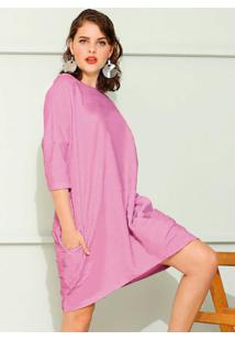 Vestido De Moletom Oversized Rosa Chiclete