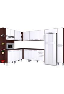 Cozinha Compacta 10 Peças Karina - Poquema - Capuccino / Branco