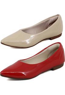 Kit Sapatilha Magi Shoes Confortável Verniz Vermelha/Nude