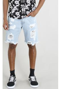 Bermuda Jeans Masculina Destroyed Azul Claro
