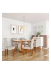 Conjunto De Mesa De Jantar Com Vidro E 6 Cadeiras Mia I Veludo Imbuia E Creme