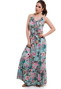 Vestido floral azul turquesa