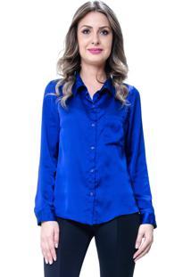 Camisa 101 Resort Wear Social Lisa Cetim Azul