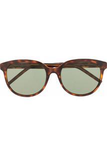 Saint Laurent Eyewear Óculos De Sol Redondo - Marrom