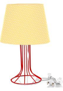 Abajur Torre Dome Amarelo/Bolinha Com Aramado Vermelho
