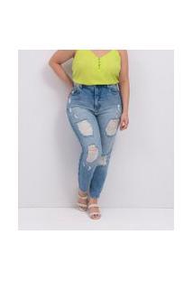 Calça Mom Jeans Com Rasgos Curve & Plus Size | Ashua Curve E Plus Size | Azul | 52