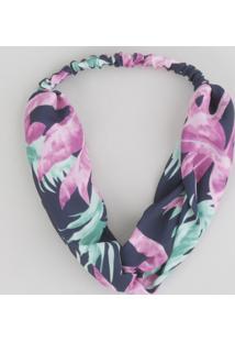 Faixa De Cabelo Estampada Floral Azul Marinho - Único
