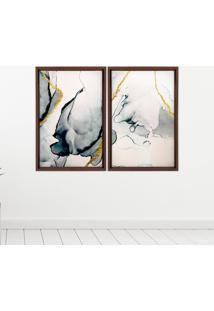Quadro Com Moldura Chanfrada Abstrato Madeira Escura - Médio