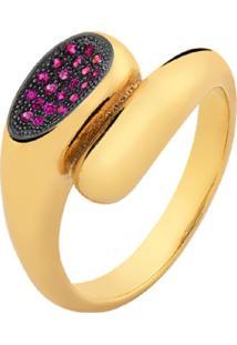 Anel Color Com Cristais Rubi Zircã´Nias Banhado A Ouro 18K - Dourado - Feminino - Dafiti