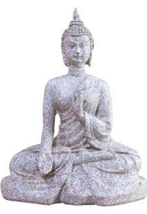 Escultura Em Resina Buda Sentado 15,5X12Cm Cinza