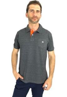 Camisa Polo Mister Fish Slim Com Bolso Masculina - Masculino-Chumbo