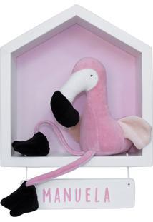 Enfeite Maternidade Casinha Flamingo Rosa Menina Nome Bebê Potinho De Mel