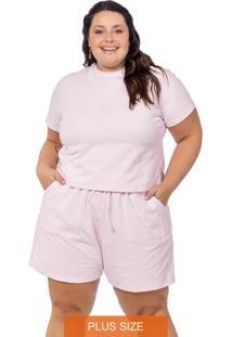 Conjunto Feminino Liso Blusa E Shorts Rosa Claro