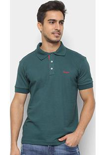 Camisa Polo Wrangler Manga Curta Básica Masculina - Masculino-Verde Escuro