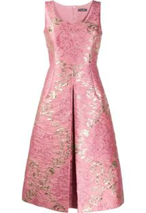 Dolce & Gabbana Vestido Jacquard Com Padronagem Floral - Rosa
