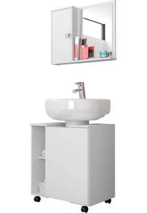 Gabinete Para Banheiro Com Espelheira Móveis Bechara Branco