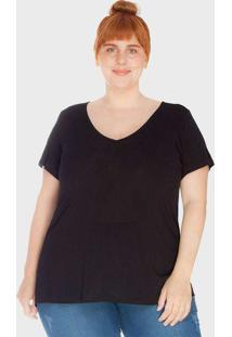 Camiseta Decote V Evasê Tecido Ultra Leve Plus Siz