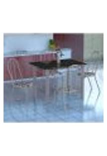 Conjunto De Mesa Genova Com 4 Cadeiras Alicante Branco Prata E Branco Floral