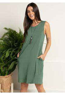 Vestido Com Bolsos Verde