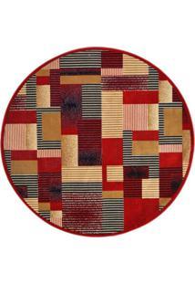 Tapete Redondo Veludo Marbella Illusione Artistic Vermelho 150X150 Cm