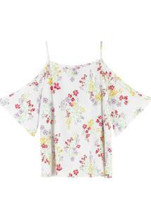 Blusa Branca Floral Com Abertura