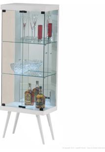 Cristaleira 2 Portas De Vidro Com Espelho, Led E Pés Palito 905 100% Mdf Branco - Móveis Forini