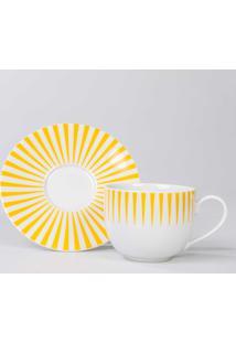 Xicara Chá C/ Pires Porcelana Schmidt - Dec. Sol Amarelo