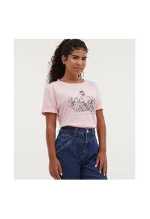 Camiseta Com Bordado Floral - Todas Avançam Juntas   Blue Steel   Rosa   Pp
