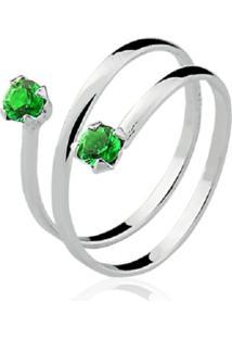 Anel Prata Rara Falange Lumine Verde Esmeralda