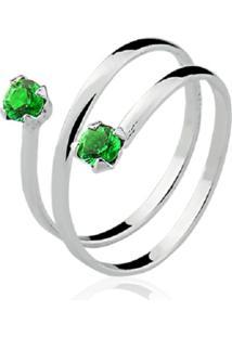 Anel Prata Rara Falange Lumine Verde Esmeralda - Verde - Feminino - Dafiti