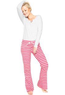 Pijama Malwee Liberta Listrado Cinza/Rosa