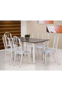 Conjunto De Mesa Luana Com 6 Cadeiras Branca Capitonê