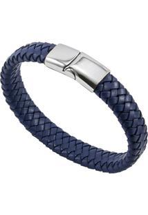 ... Bracelete De Aço Inox Tudo Joias Com Couro Antique Black - Unissex-Azul dd970a9044