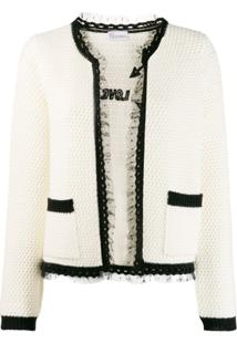 Red Valentino Red(V) Lace Trim Knitted Cardigan - Branco