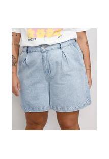 Bermuda Jeans Feminina Plus Size Mindset Cintura Alta Com Pregas Azul Claro