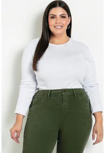 Blusa Branca Justa Com Mangas Longas Plus Size