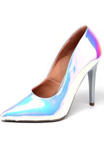 Scarpin Casual Salto Alto Holográfico Ellas Online Multicolorido - Kanui