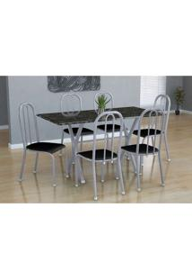 Conjunto De Mesa Miame Com 6 Cadeiras Madri Branco Prata E Preto Liso