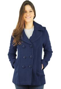 70e6d1191 Outono Inverno 2015; Grande; Acinturado; Premium. Casaco Feminino Trench  Coatiena Em Lã Batida - Feminino-Azul Escuro