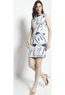 Vestido Texturizado - Off White & Azul- Moiselemoisele