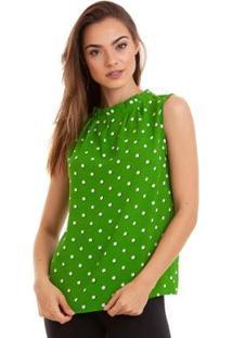 Blusa Regata Kinara Com Pregas Feminina - Feminino-Verde