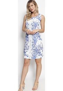 Vestido Floral Com Renda- Branco & Azul- Nectarinanectarina