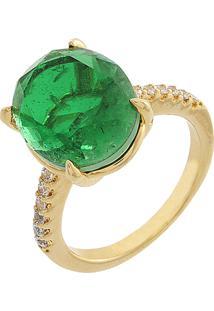 Anel Narcizza Com Pedra Oval Esmeralda Com Detalhes Em Zircônia Cristal Banhado No Ouro