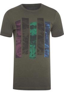 Camiseta Masculina Faixas Coloridas - Verde