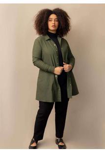Parka Daniela Plus Size Verde Escuro-G Verde