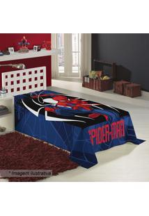 Manta Fleece Solteiro Spider Manâ®- Azul Escuro & Vermelhlepper