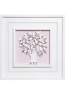Quadro Árvore Da Vida Com Pérolas Bebê Infantil Potinho De Mel Rosa