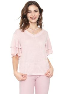Blusa Facinelli By Mooncity Metalizada Rosa