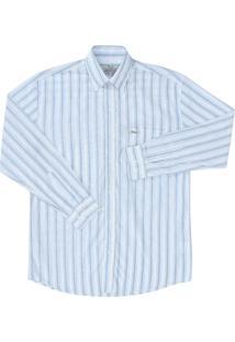 Camisa Wrangler Manga Longa Branca Listrada Branco
